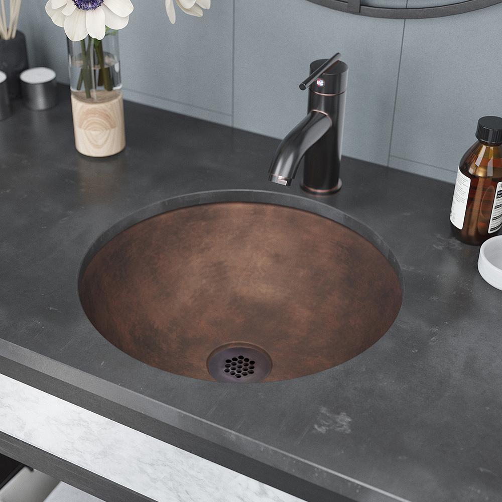 Rene Dual-Mount Bathroom Sink in Bronze with Grid Drain in Oil Rubbed Bronze