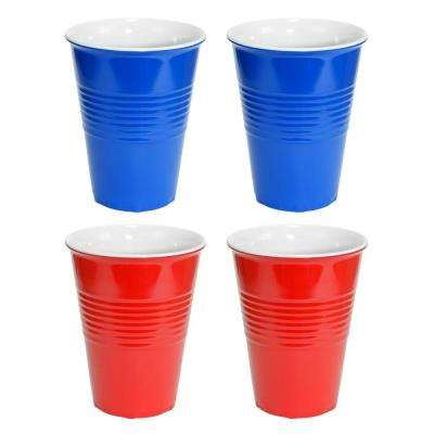 20 Oz. Red and Blue Hard Plastic Cup (4-Pack)