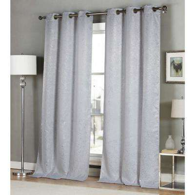 Maddie 96 in. L x 38 in. W Polyester Blackout Curtain Panel in White (2-Pack)