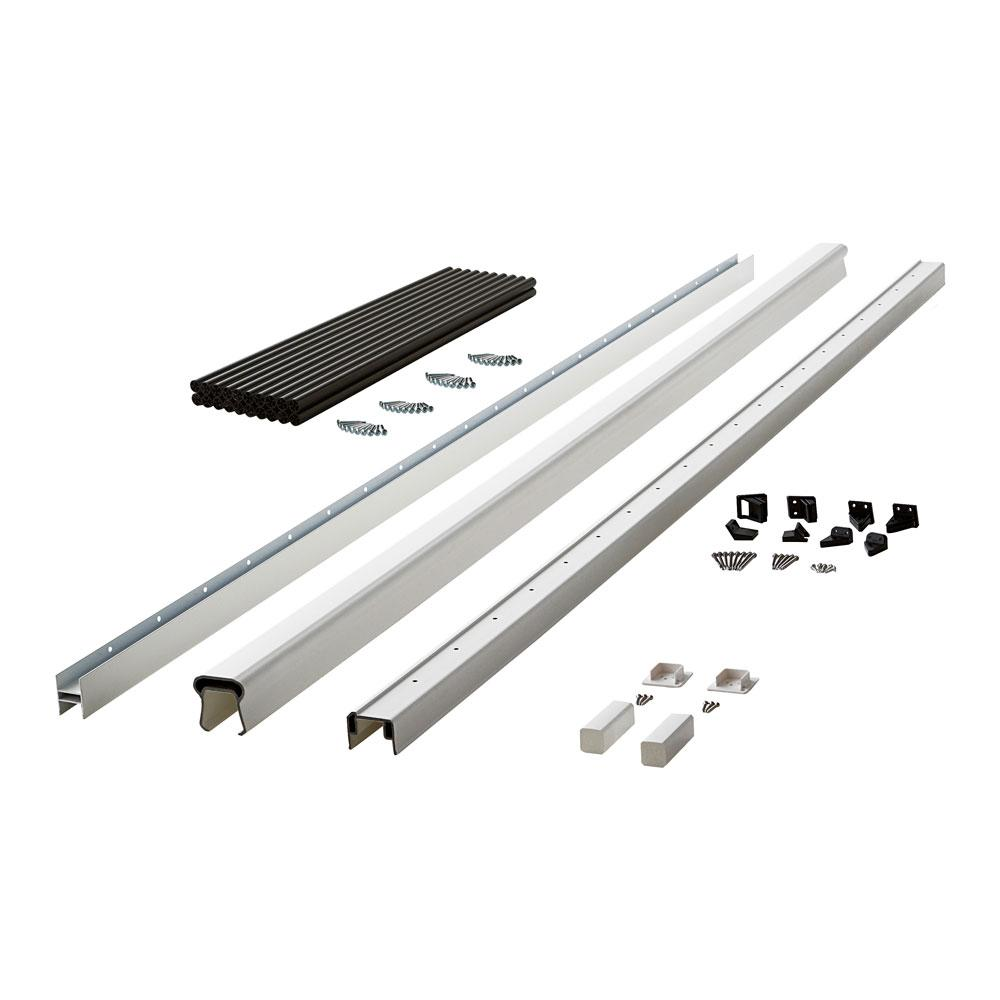 Symmetry 8 ft. Tranquil White Capped Composite Line Rail Section with