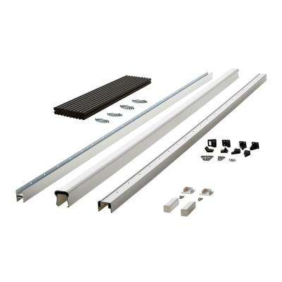 Symmetry 8 ft. Tranquil White Capped Composite Line Rail Section with 35.5 in. Aluminum Balusters