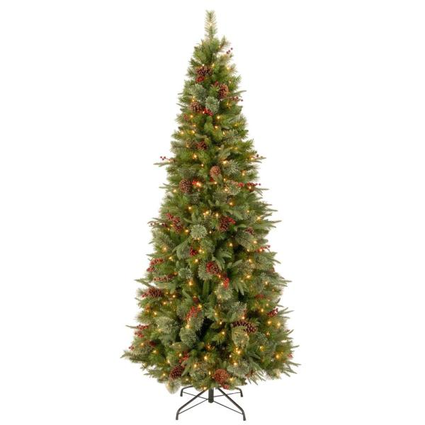7-1/2 ft. Feel Real Colonial Slim Hinged Artificial Christmas Tree with 400 Clear Lights