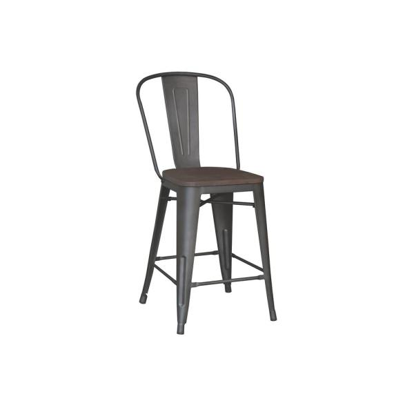 24 in. Matte Gunmetal Backed Counter Stool (Set of 2)