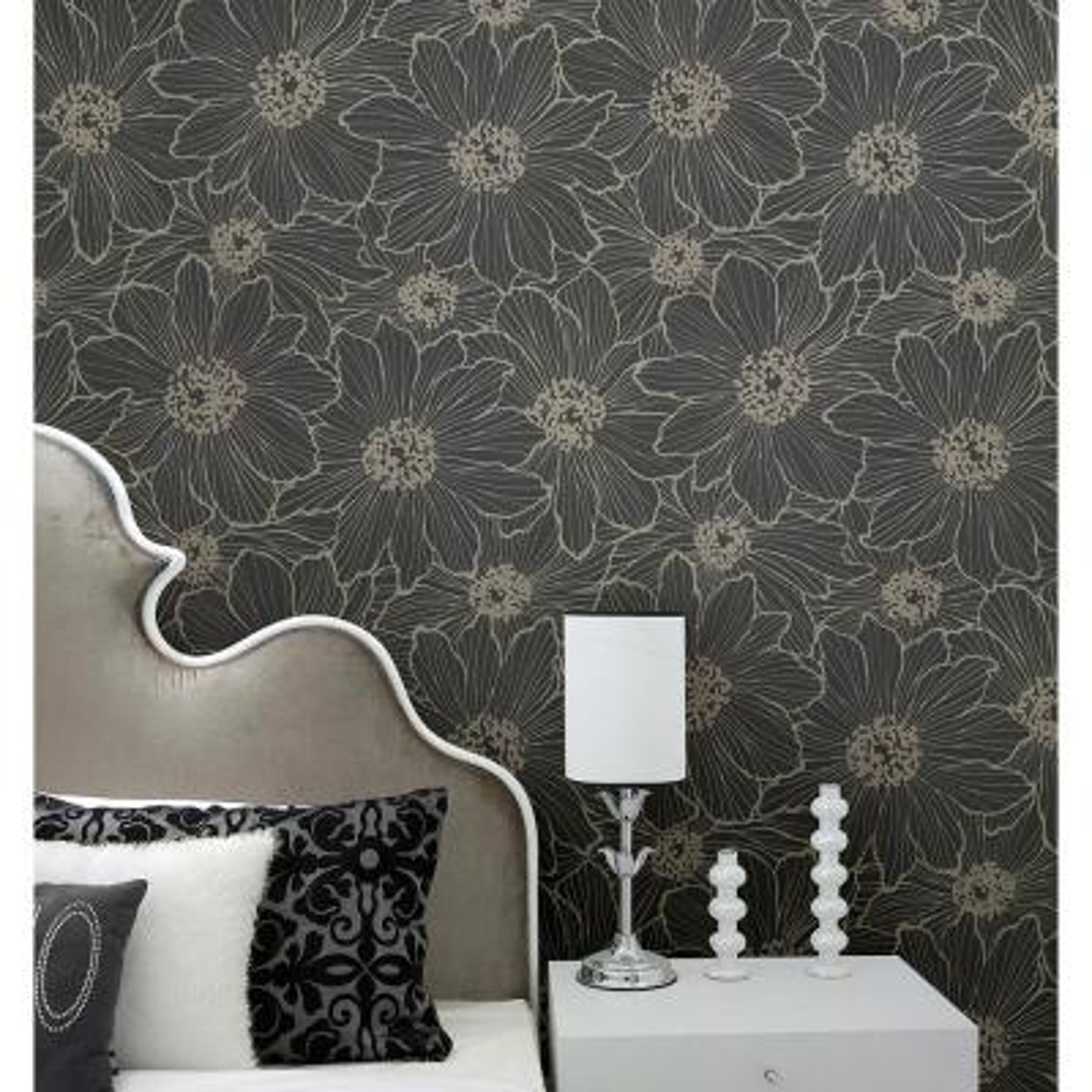 56.4 sq. ft. Vivienne Black Floral Wallpaper