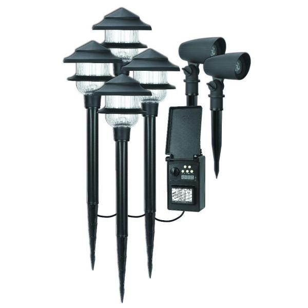 Low-Voltage LED Combo Pack with 4 Pathway Light and 2 Spot Light and 45-Watt Digital Transformer and 75 ft. Cable