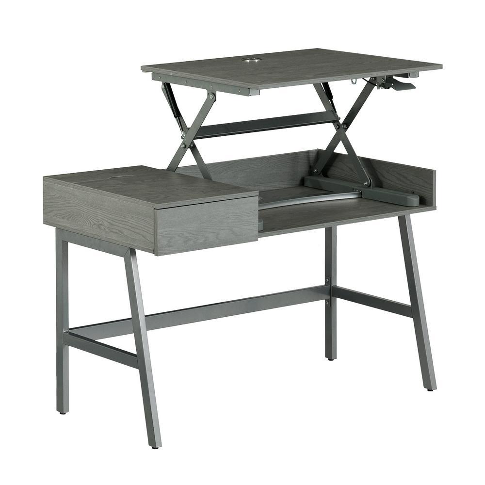 Pneumatic Grey Height Adjustable Standing Desk