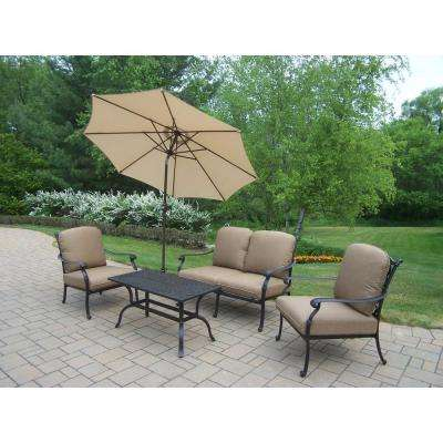 Hampton Cast Aluminum 6 Piece Patio Deep Seating Set With SpunPoly Beige  Cushions And Umbrella