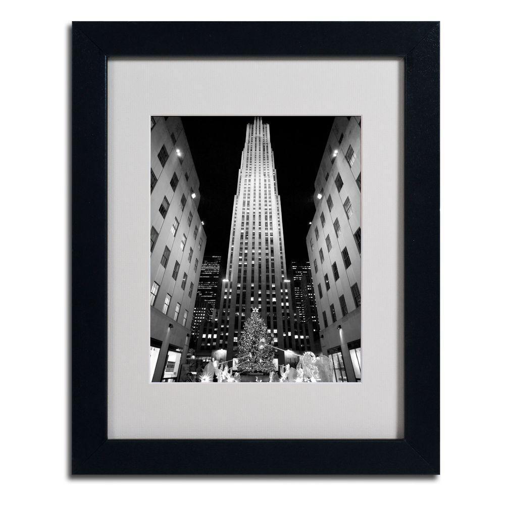11 in. x 14 in. Rockefeller Night Matted Framed Art