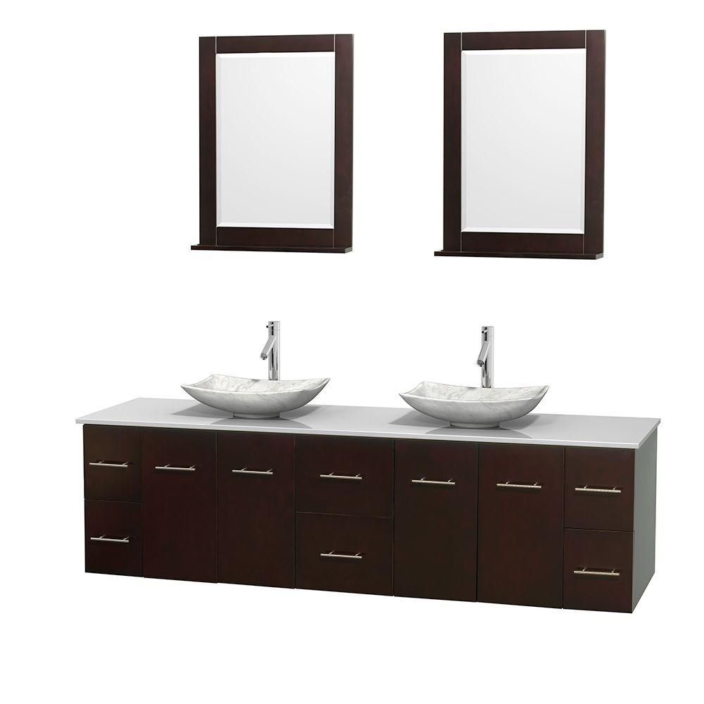 Wyndham Collection Centra 80 in. Double Vanity in Espresso with Solid-Surface Vanity Top in White, Carrera Marble Sinks and 24 in. Mirror