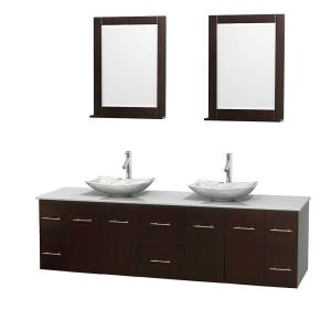 Wyndham Collection Centra 80 inch Double Vanity in Espresso with Solid-Surface Vanity Top in White, Carrera Marble Sinks... by Wyndham Collection