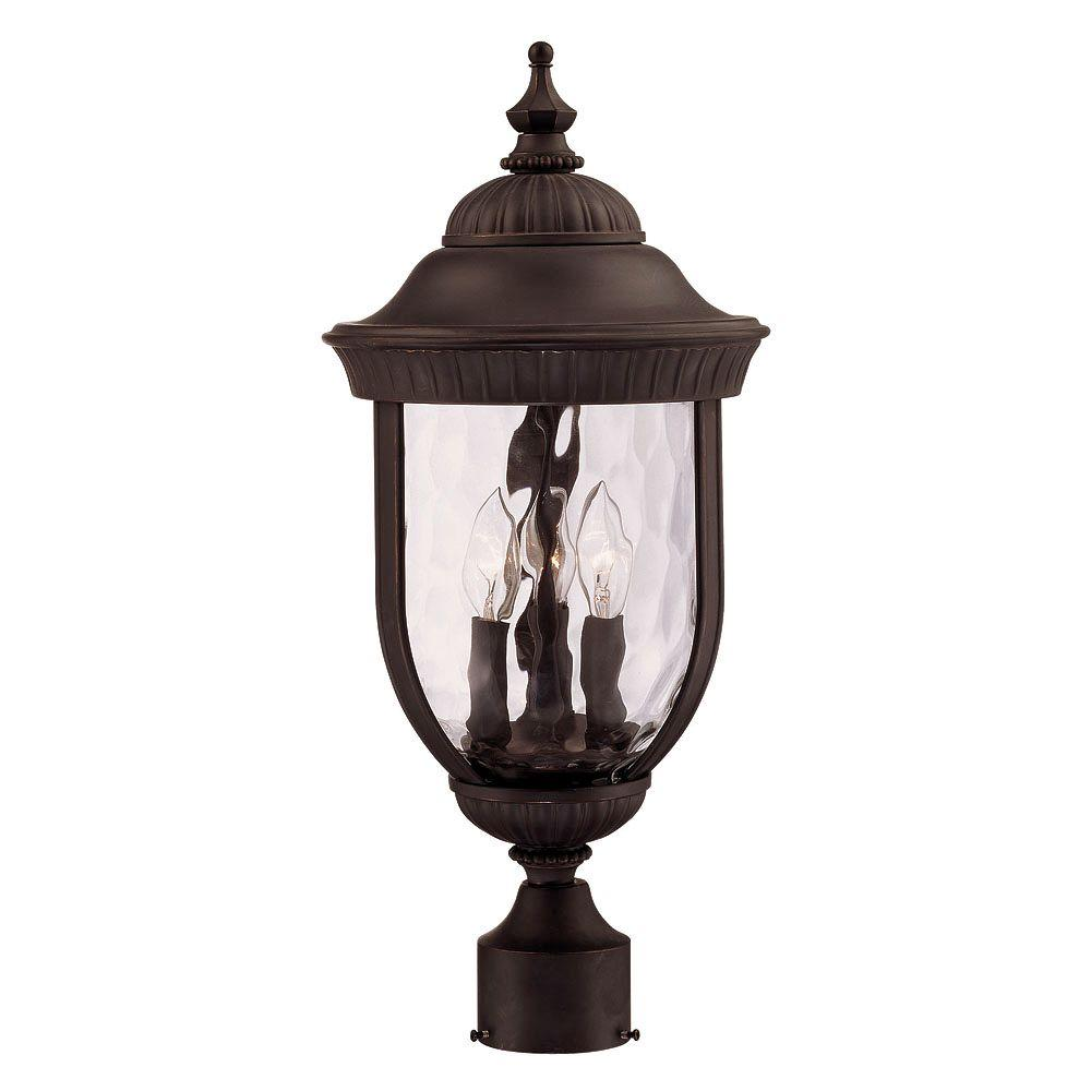 3-Light Post Lantern Black with Gold Finish Clear Hammered Glass