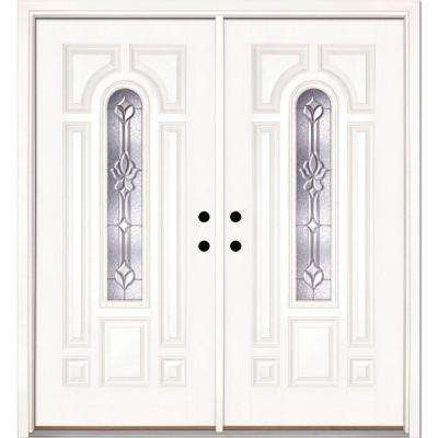 74 in. x 81.625 in. Medina Zinc Center Arch Lite Unfinished Smooth Right-Hand Fiberglass Double Prehung Front Door