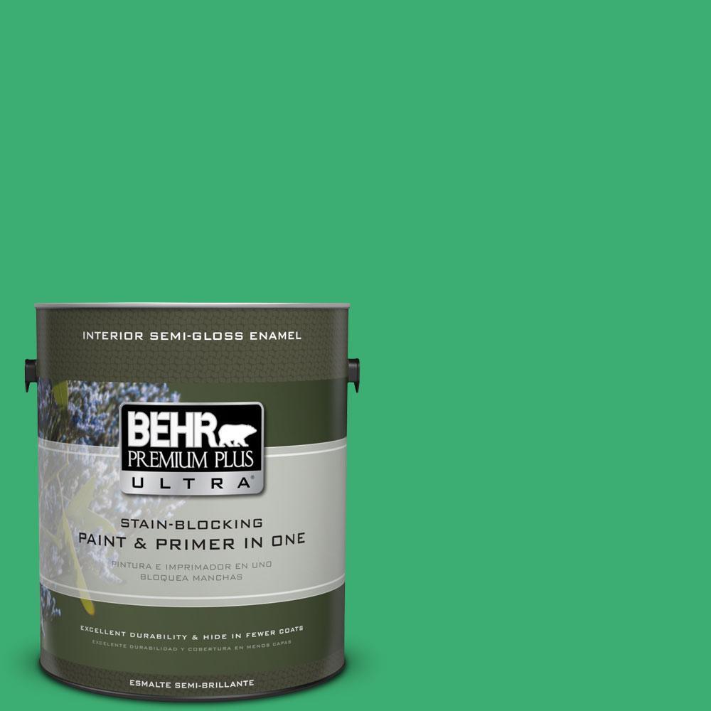 1-gal. #460B-5 Fresh Greens Semi-Gloss Enamel Interior Paint