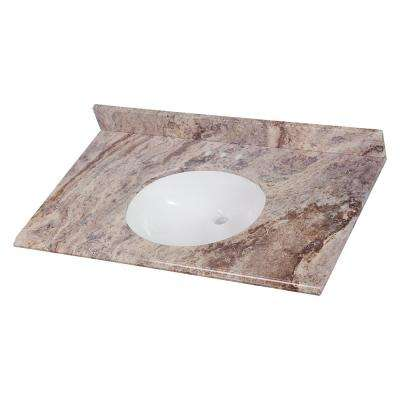37 in. W x 22 in. D Stone Effects Vanity in Cold Fusion with White Sink