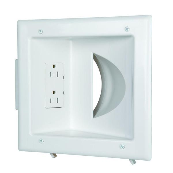 White 1-Gang 1-Decorator/Rocker/1-Duplex;Cable Pass-Through Wall Plate (1-Pack)