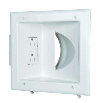 Low-Voltage Recessed Media Plate with Duplex Receptacle