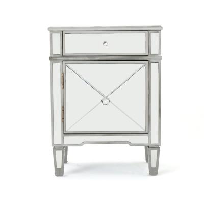 Neely Silver Faux Wood Accent Cabinet with Mirrored Panels