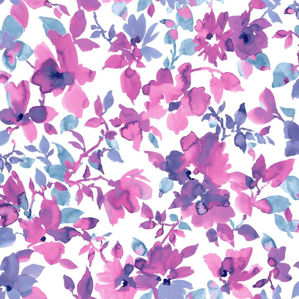 Bright Watercolor Floral Vinyl Peelable Wallpaper (Covers 28.18 sq. ft.)