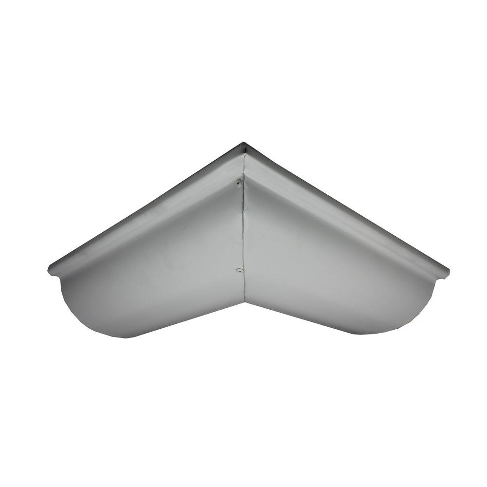 6 in. Half Round Colonial Gray Aluminum Outside Miter