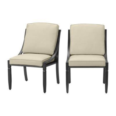 Harmony Hill Black Steel Outdoor Patio Armless Dining Chairs with CushionGuard Putty Tan Cushions (2-Pack)