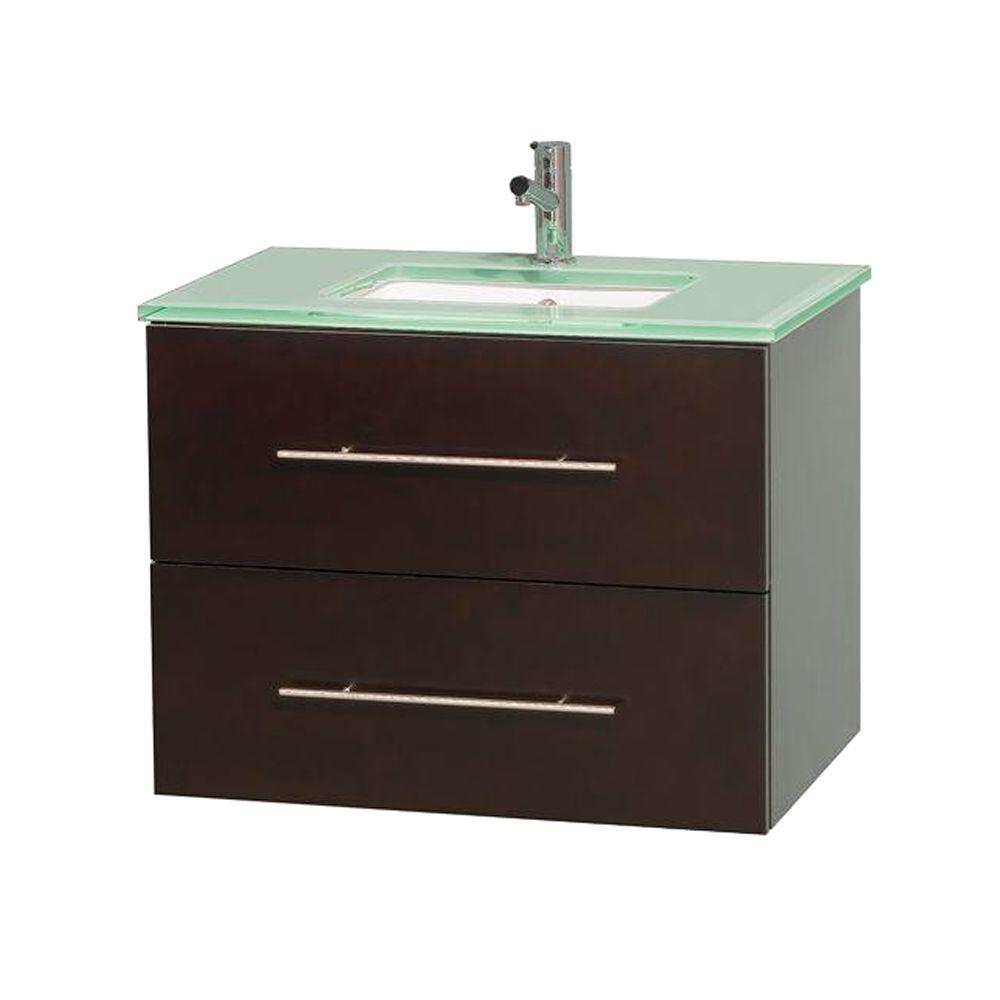 Wyndham Collection Centra 30 in. Vanity in Espresso with Glass Vanity Top in Green and Undermount Sink