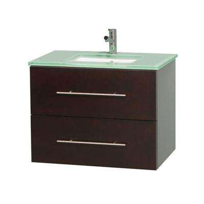 Centra 30 in. Vanity in Espresso with Glass Vanity Top in Green and Undermount Sink