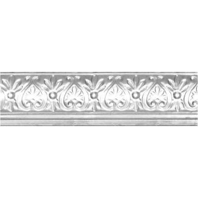 6-5/8 in. x 4 ft. x 6-1/4 in. Brite Chrome Nail-up/Direct Application Tin Ceiling Cornice (6-Pack)