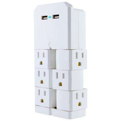 6-Outlet 2 USB Swivel Outlet Charging Station in White