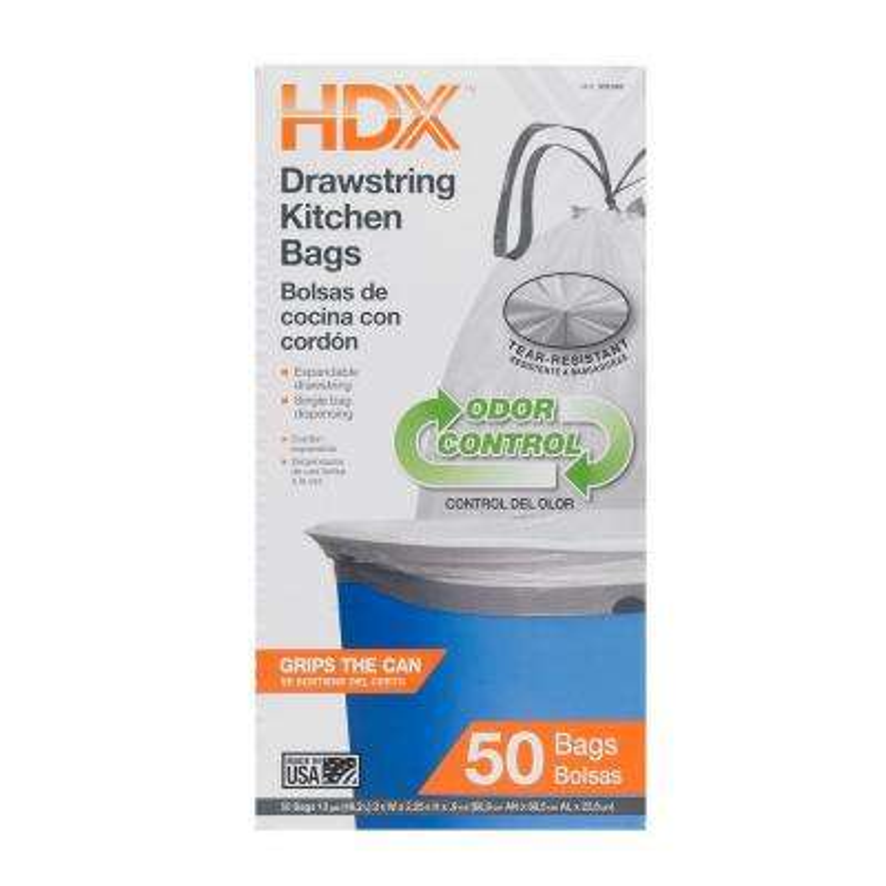 13 Gal. Kitchen Odor Control Drawstring White Trash Bags (50 Count)
