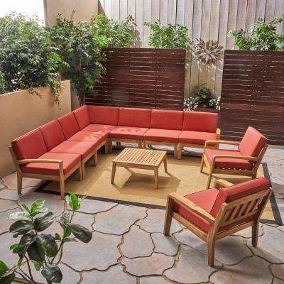 Grenada Teak Brown 10-Piece Wood Patio Conversation Set with Red Cushions