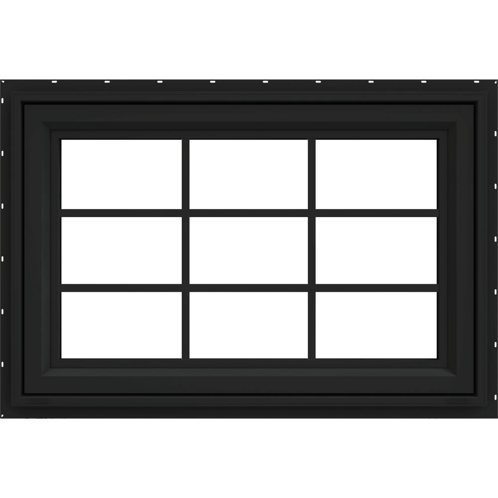 JELD-WEN 36 in. x 30 in. V-4500 Series Bronze FiniShield Vinyl Awning Window with Colonial Grids/Grilles