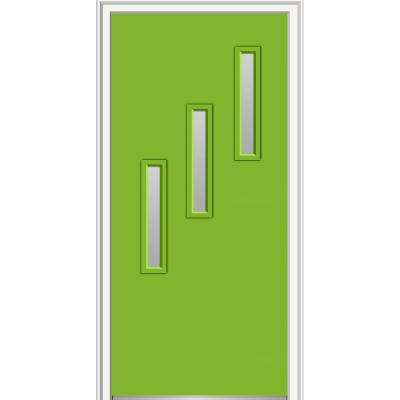 36 in. x 80 in. Davina Low-E Glass Left-Hand 3-Lite Clear Vertical Modern Painted Fiberglass Smooth Prehung Front Door