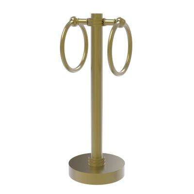 Vanity Top 2 Towel Ring Guest Towel Holder with Dotted Accents in Satin Brass