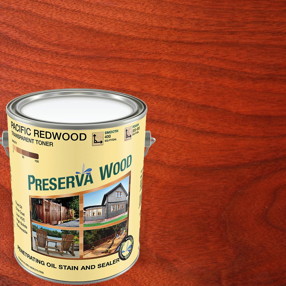 Preserva Wood 1 Gal Oil Based Pacific Redwood Penetrating Exterior Stain And Sealer 40104 The Home Depot