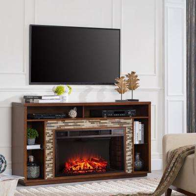 Ellyn 60 in. Glass Tiled TV Stand Electric Fireplace in Whiskey Maple