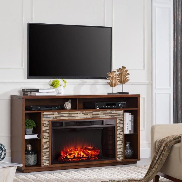 Southern Enterprises Ellyn 60 In Glass Tiled Tv Stand Electric Fireplace In Whiskey Maple Hd685113 The Home Depot