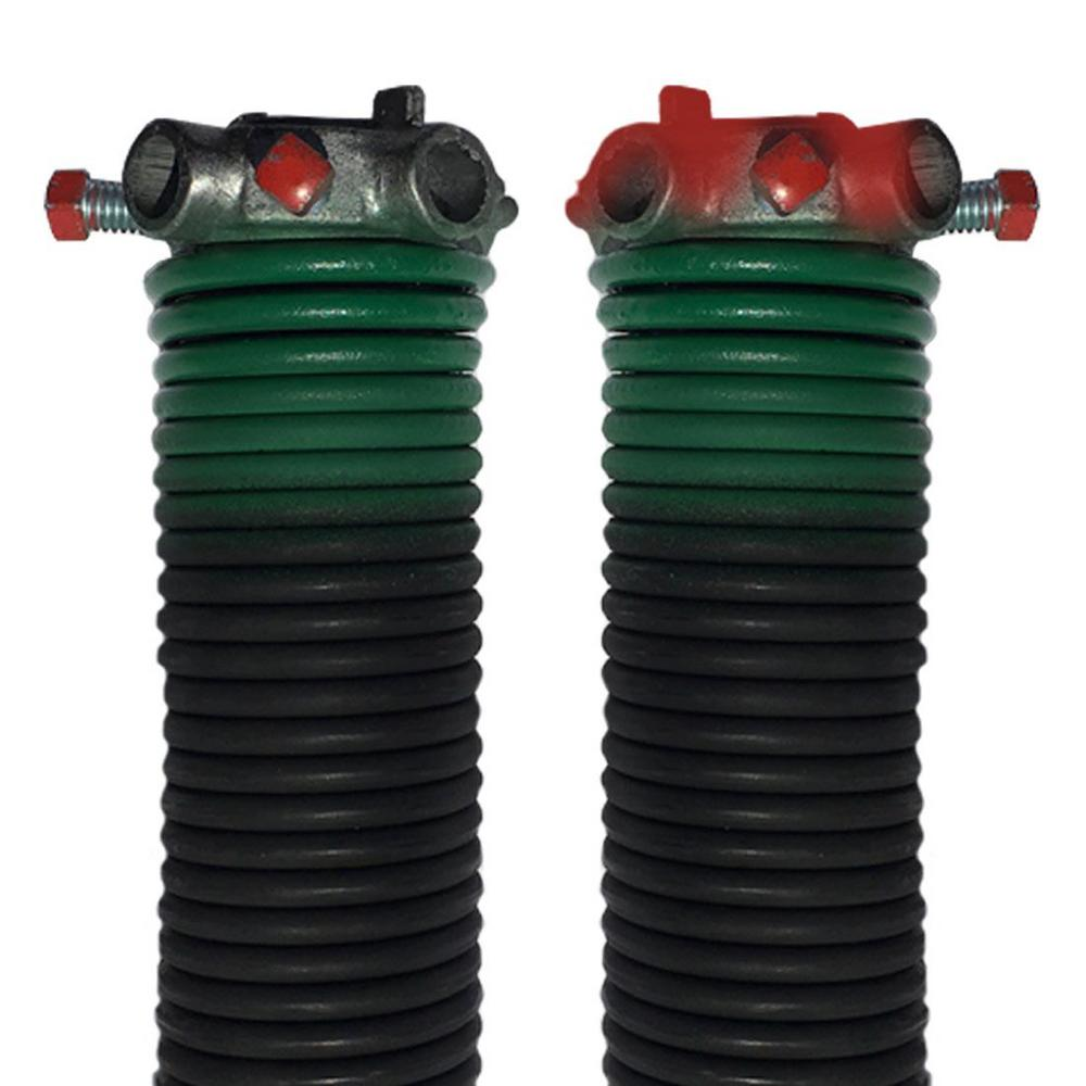 DURA-LIFT 0.243 in. Wire x 2 in. D x 33 in. L Torsion Springs in Green Left and Right Wound Pair for Sectional Garage Doors