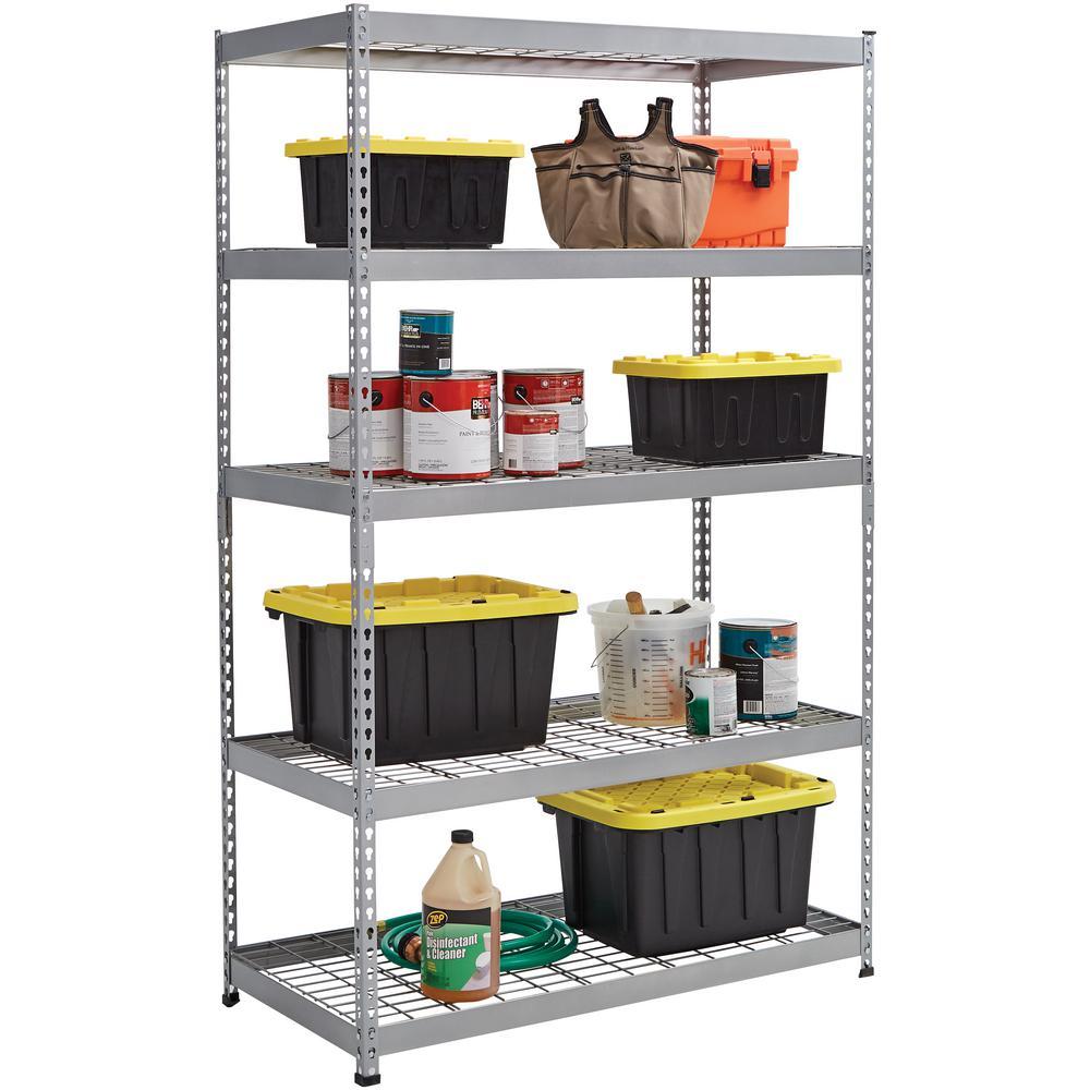 Husky Silver 5 Tier Heavy Duty Steel Garage Storage Shelving 48 In W X 78 In H X 24 In D Mr482478w5 The Home Depot
