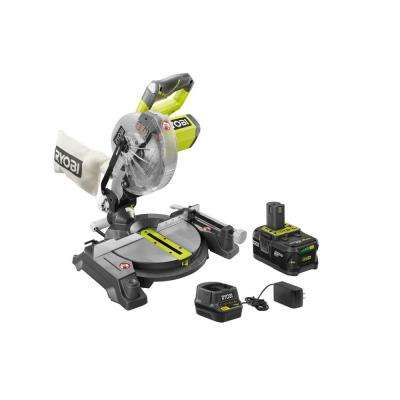 18-Volt ONE+ Lithium-Ion 7-1/4 in. Cordless Miter Saw Kit with 4.0 Ah Battery, Charger, Blade and Blade Wrench