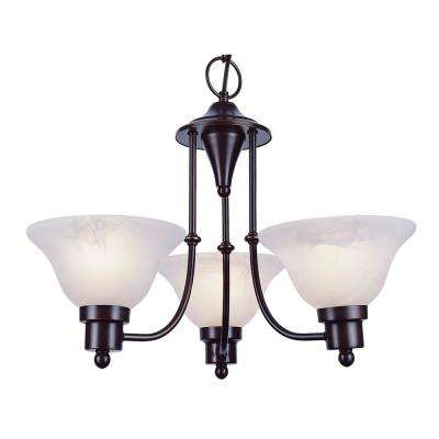 Perkins 3-Light Weathered Bronze Chandelier with Marbleized Shades