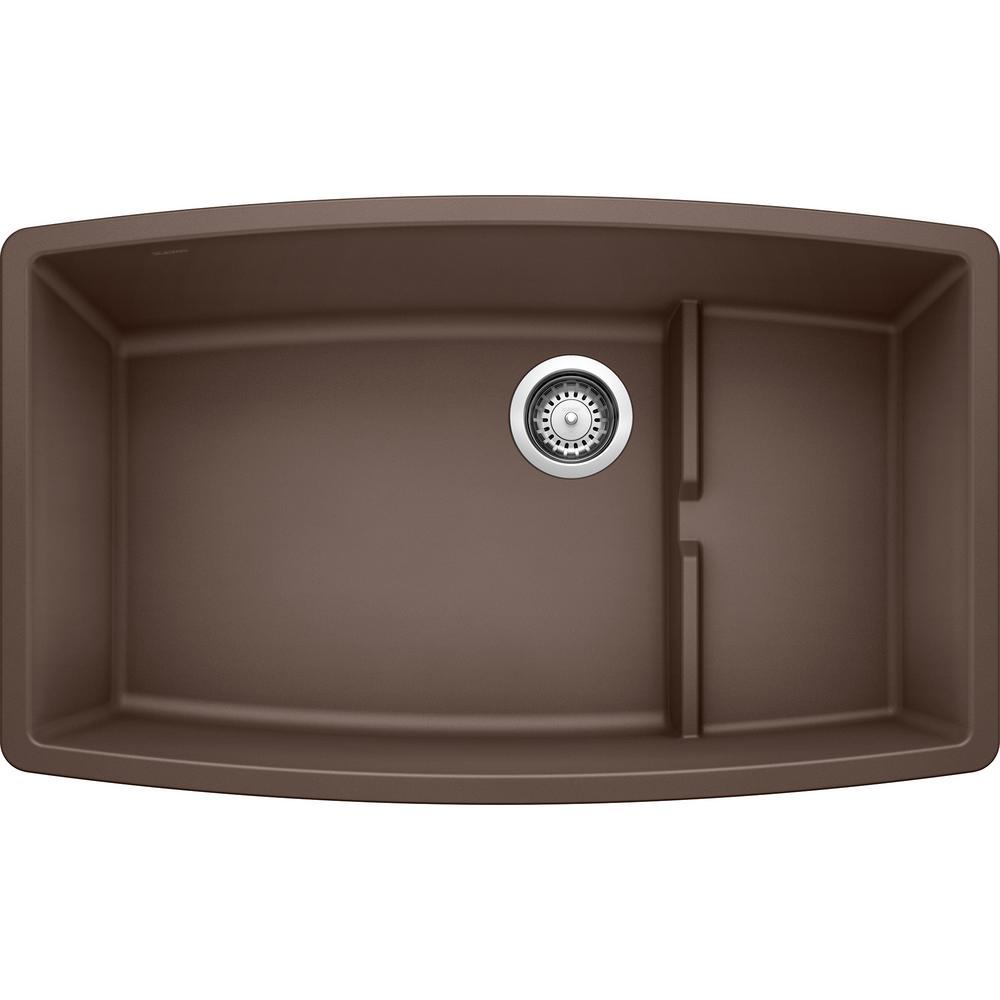 Performa Undermount Granite 32 in. x 19.5 in. Single Bowl Kitchen Sink in Cafe Brown