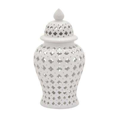 18 in. White Lidded Ceramic Jar