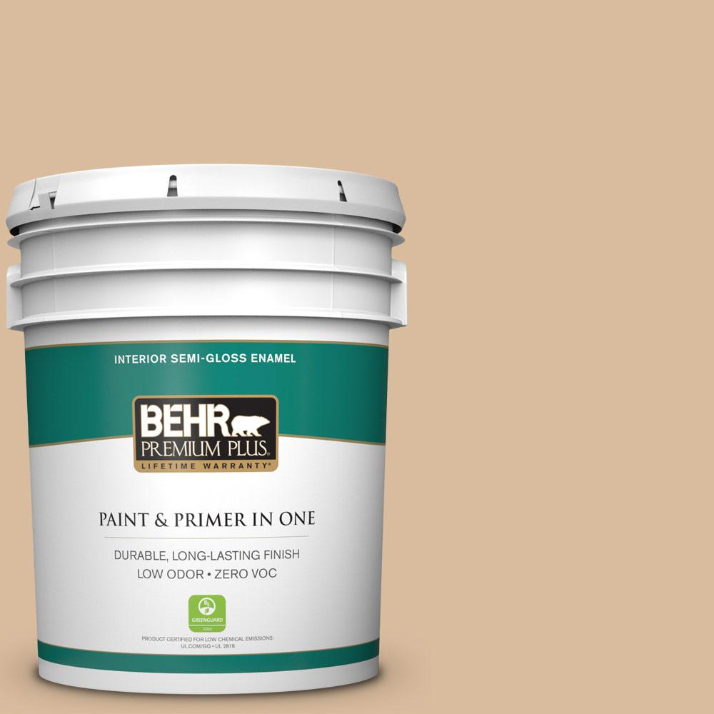 5-gal. #BXC-40 Soft Wheat Semi-Gloss Enamel Interior Paint