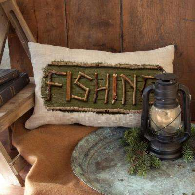 Lodge Hollow Natural Fishing Decorative Pillow