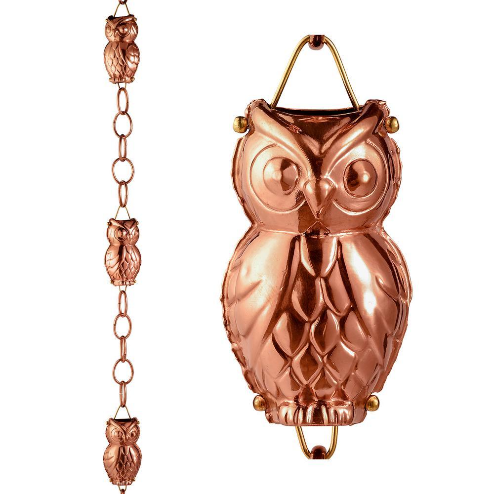 Good Directions Owl Pure Copper 8.5 ft. Rain Chain
