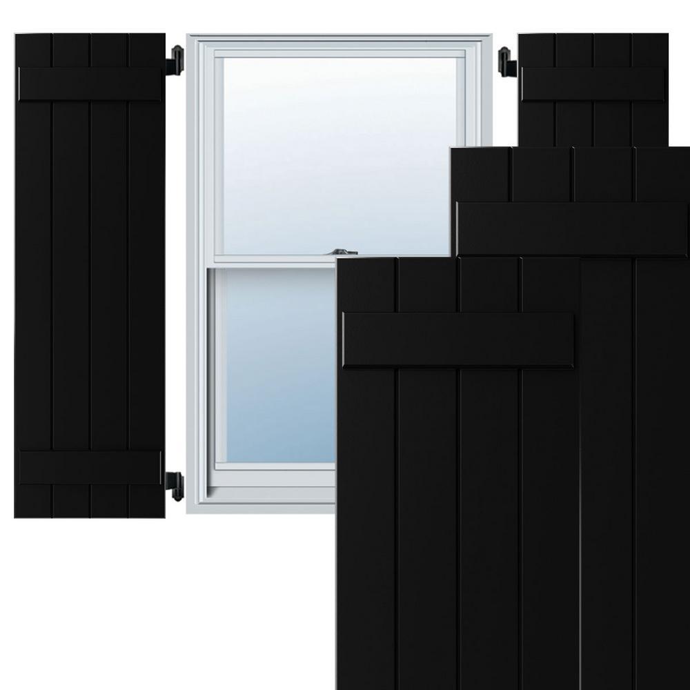 15 in. x 60 in. Exterior 4-Board (2 Batten) Composite Board-n-Batten Shutters (Per Pair), Black