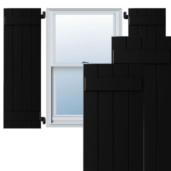 15 in. x 60 in. Exterior 4-Board (2 Batten) Composite Board-n-Batten Shutters (Per Pair), Black