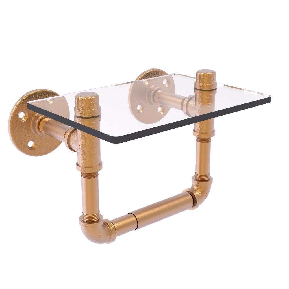 Pipeline Collection Wall-Mount Toilet Tissue Holder with Glass Shelf in Brushed