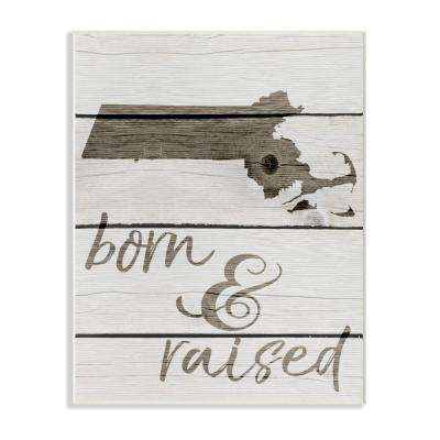 """10 in. x 15 in. """"Born and Raised Massachusetts"""" by Daphne Polselli Printed Wood Wall Art"""