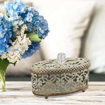 8 in. x 5 in. Metal and Plastic Decorative Openwork Box with Lid and Crystal Knob